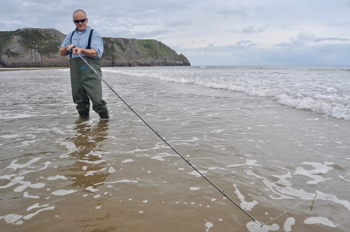 Sandy beach fishing in Wales