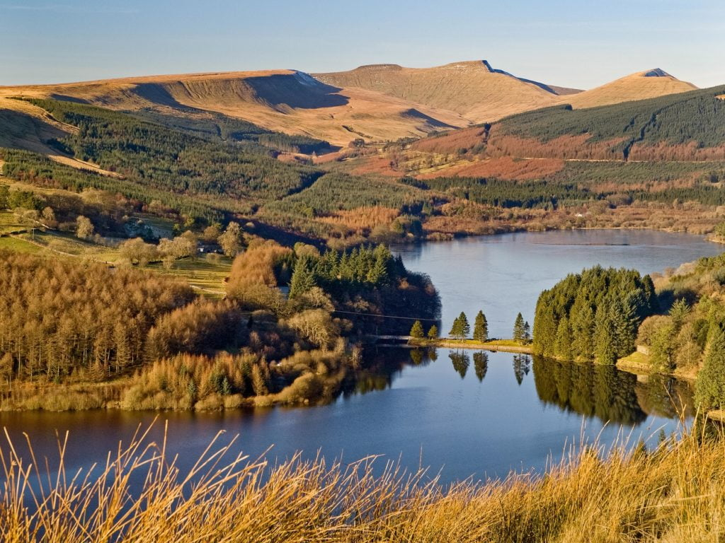 The Beacons from above Pontsticill reservoir