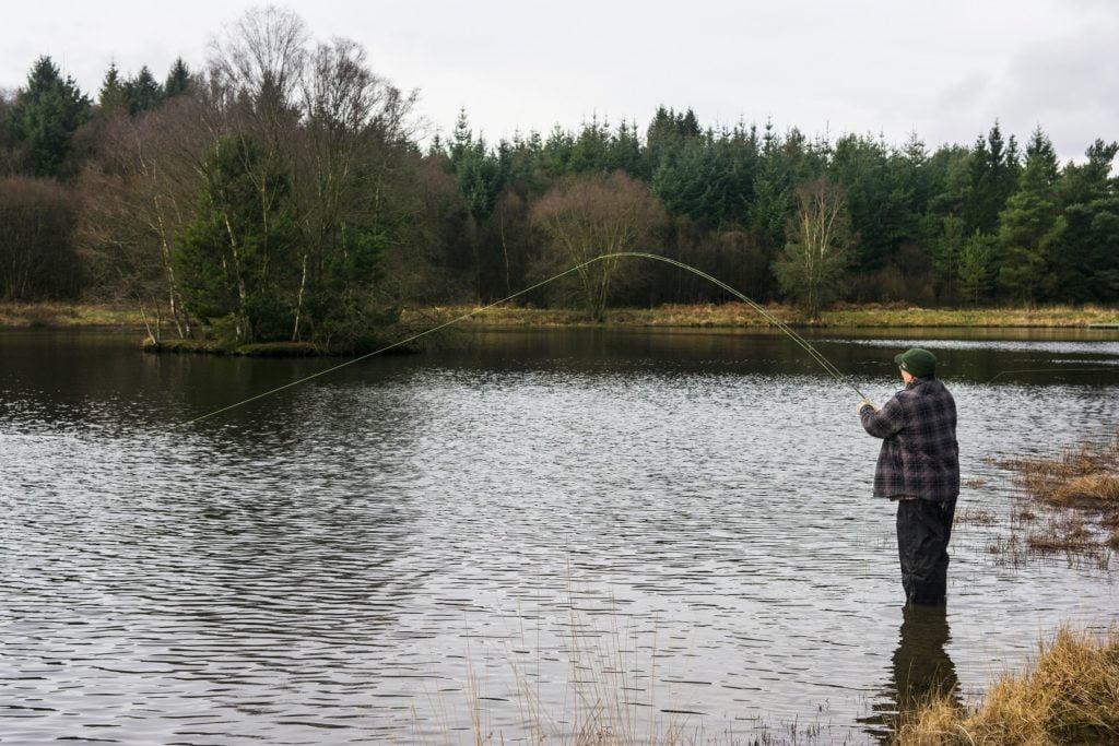 catching fish by the island on llyn Gwyn