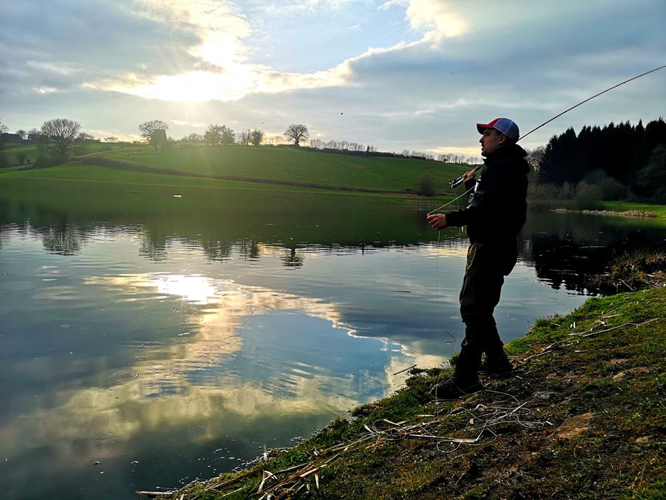 fly fishing on a trout fishery