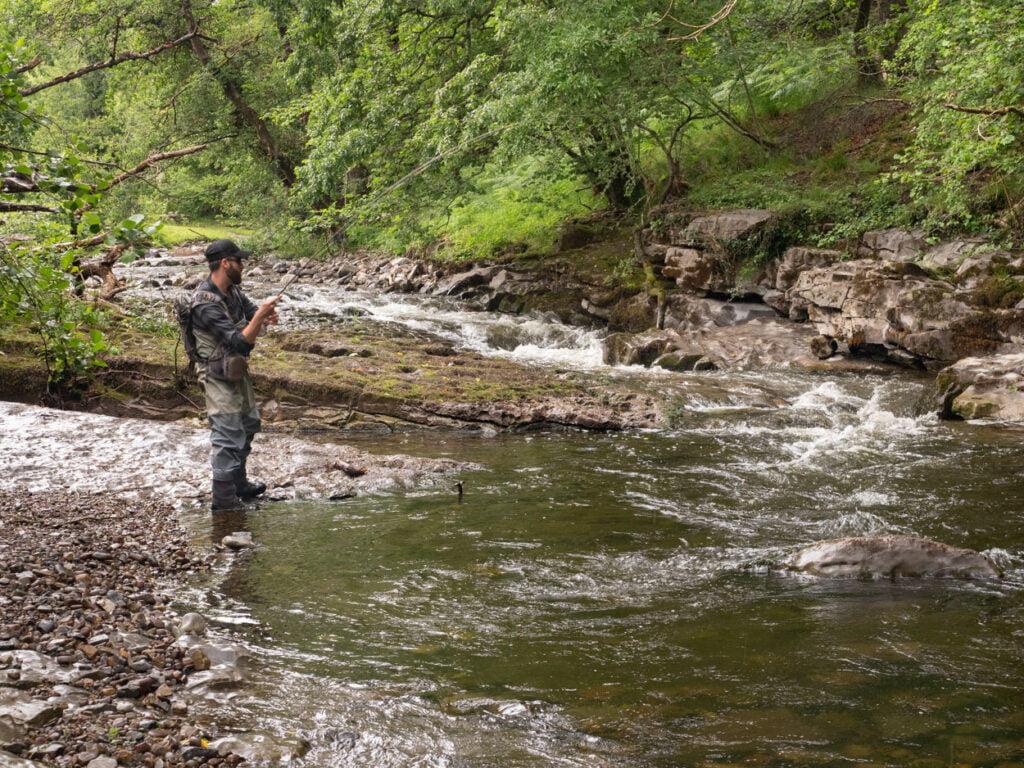 fly fishing taff fechan river Wales
